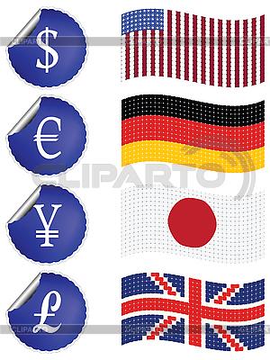Rote Etiketten mit Währungszeichen | Stock Vektorgrafik |ID 3004173
