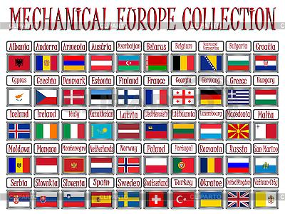 Mechanische Schilde mit Flaggen Europas | Stock Vektorgrafik |ID 3004398