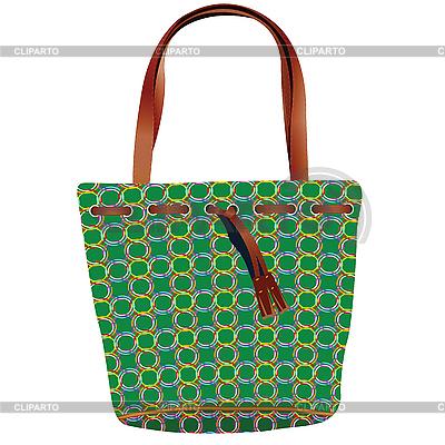 Женская сумочка зеленого цвета, вектор.