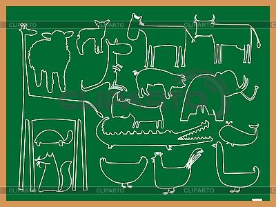 Klassentafel mit Tiersilhouetten | Stock Vektorgrafik |ID 3005118