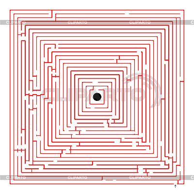 Labirynt czerwony kwadrat | Klipart wektorowy |ID 3005380