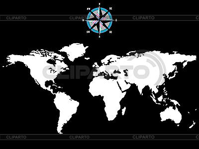 Weltkarte mit Windrose | Stock Vektorgrafik |ID 3005888