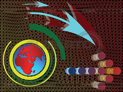 Abstrakte Komposition mit Weltkarte und Pfeile | Stock Vektorgrafik |ID 3005934