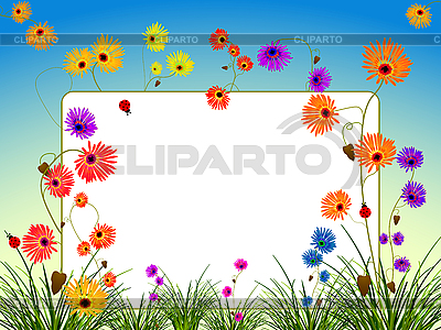 꽃과 잔디 빈 빌보드 | 벡터 클립 아트 |ID 3029189