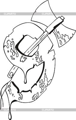 Blutige Ziffer Neun mit ax | Stock Vektorgrafik |ID 3000702