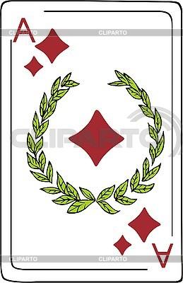 Ace diamentów z wieńcem | Klipart wektorowy |ID 3000706