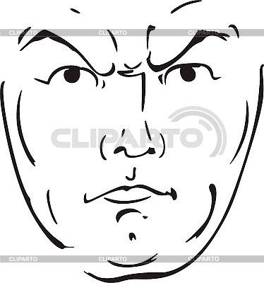Strict male kontur twarzy | Klipart wektorowy |ID 3000794