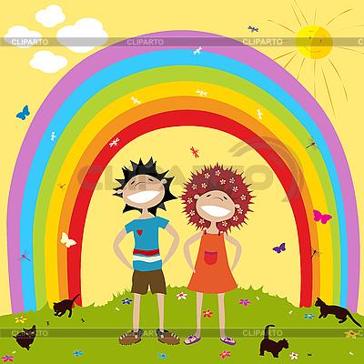 Rainbow i dzieci | Klipart wektorowy |ID 3001984