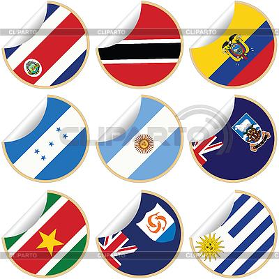 Kolekcja naklejki / etykiety z flagami | Klipart wektorowy |ID 3002014