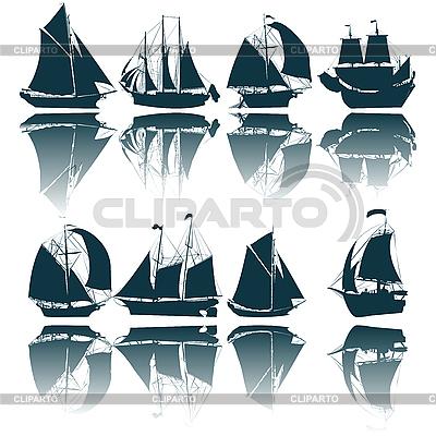 Segelschiffe, Silhouetten | Stock Vektorgrafik |ID 3002208