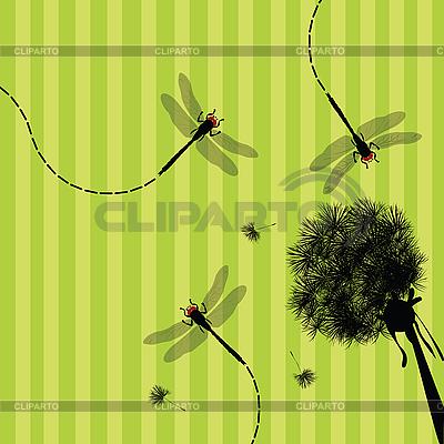 Dandelion i ważka | Stockowa ilustracja wysokiej rozdzielczości |ID 3002416