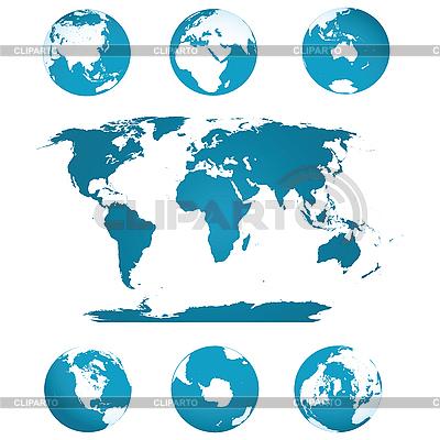 Globes and world map | Stockowa ilustracja wysokiej rozdzielczości |ID 3002420