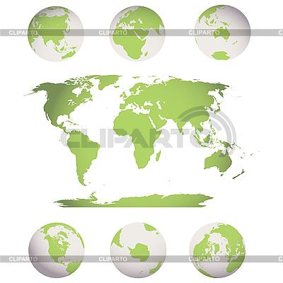 Globen und Weltkarte | Stock Vektorgrafik |ID 3006088