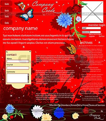 Rote Website-Vorlage | Stock Vektorgrafik |ID 3006208