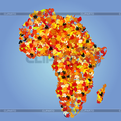 Afryka map z jesieni | Klipart wektorowy |ID 3010723