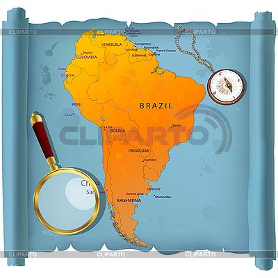 Mapa Ameryki Południowej na rolce | Klipart wektorowy |ID 3018492