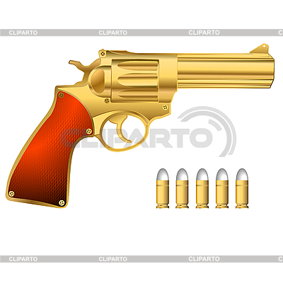 Goldener Revolver und Munition | Stock Vektorgrafik |ID 3018679