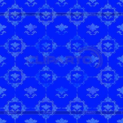 Синий узор с цветочным декором | Иллюстрация большого размера |ID 3025170