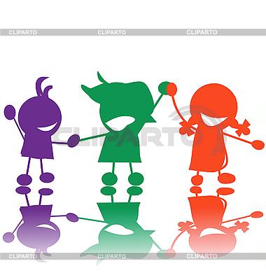 Счастливые дети, силуэты | Иллюстрация большого размера |ID 3025424
