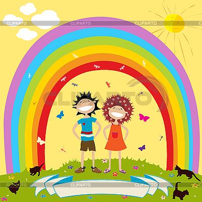 Regenbogen und Kinder | Stock Vektorgrafik |ID 3032126
