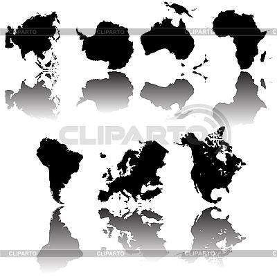 Zarysy map Kontynent | Klipart wektorowy |ID 3032144
