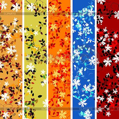 Fünf blumige Werbebanner | Stock Vektorgrafik |ID 3032175