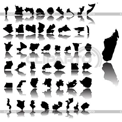 Mapy kontur krajów Afryki | Klipart wektorowy |ID 3032222