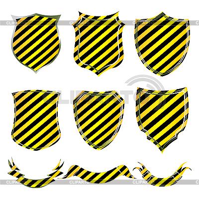 검은 색 - 노란색 줄무늬가 방패 및 배너 | 벡터 클립 아트 |ID 3038473