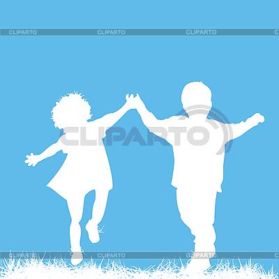 运行儿童剪影 | 向量插图 |ID 3089346