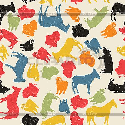 农场动物的无缝模式 | 向量插图 |ID 3095020