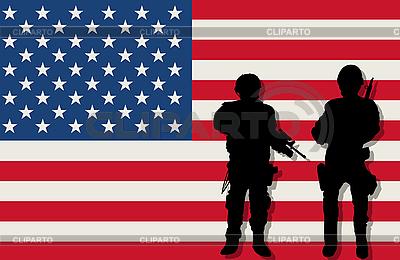全副武装的士兵和美国国旗 | 向量插图 |ID 3124743