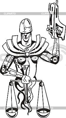 Waage der Gerechtigkeit als bewaffneter Roboter | Stock Vektorgrafik |ID 3006371