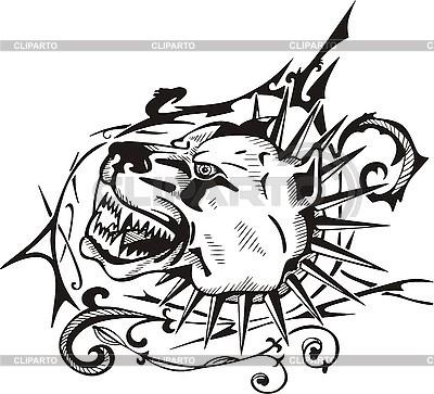 Tattoo pies z kołnierzem | Klipart wektorowy |ID 3006395