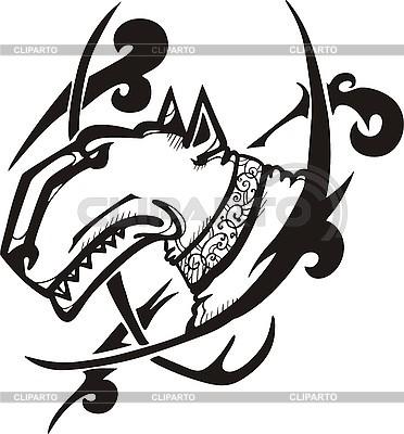 Tattoo mit Kopf des Bullterriers | Stock Vektorgrafik |ID 3006443