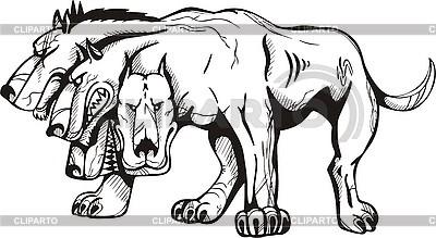 Monster pies z pięciu głów | Klipart wektorowy |ID 3006483
