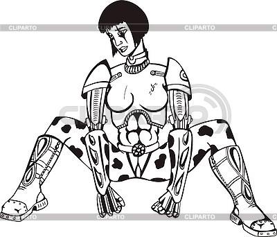Siedzi kobieta cyborg | Klipart wektorowy |ID 3006903