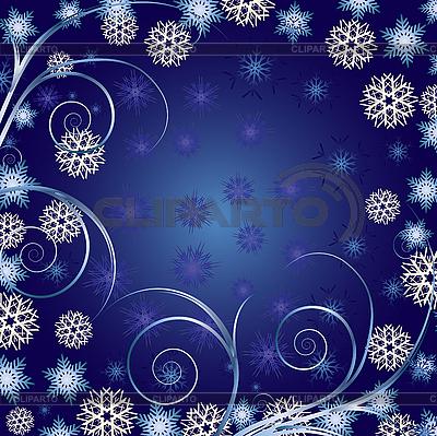 Niebieskie tło christmas z loki i płatki śniegu | Klipart wektorowy |ID 3011279