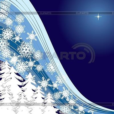 蓝色圣诞贺卡MIT firtrees的和雪花 | 向量插图 |ID 3011347