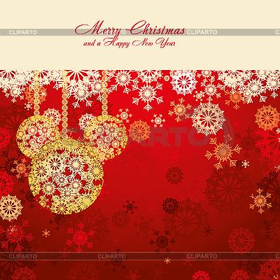 Красная рождественская открытка с елочными шарами | Векторный клипарт |ID 3011420