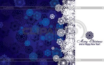 Blaue Weihnachtskarte mit Schneeflocken | Stock Vektorgrafik |ID 3011424