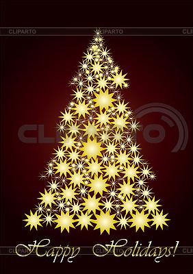圣诞树由恒星形成 | 向量插图 |ID 3011464
