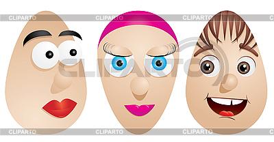 Eier mit Gesichtern | Stock Vektorgrafik |ID 3011523