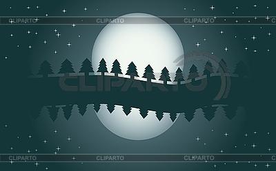 Nocny krajobraz z księżyca i jodły | Klipart wektorowy |ID 3011629