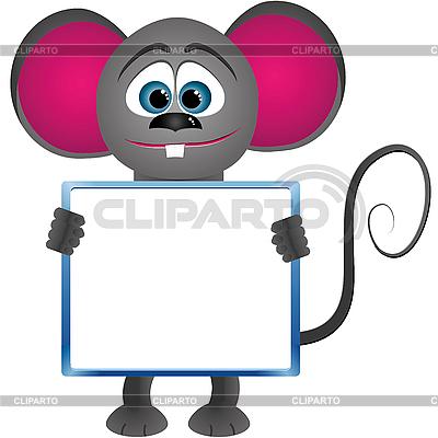 Cartoon mysz z wyraźnym ramki dla tekstu | Klipart wektorowy |ID 3011659