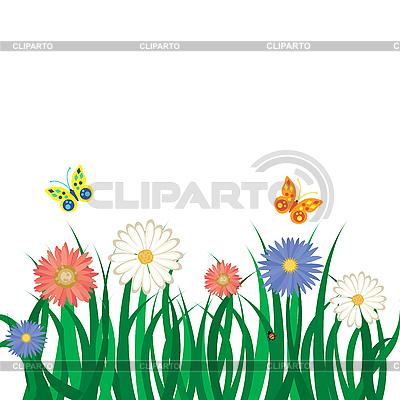 Kwiaty, trawa i motyle | Klipart wektorowy |ID 3011731