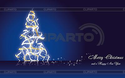 Blaue Weihnachtskarte mit Tannenbaum | Stock Vektorgrafik |ID 3110767