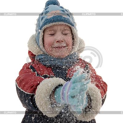 Der Junge und Schneeflocken | Foto mit hoher Auflösung |ID 3012415