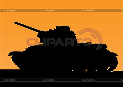 Tank-Silhouette am Sonnenuntergang | Stock Vektorgrafik |ID 3018161