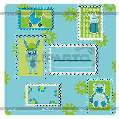 Blaue Karte mit Briefmarken | Illustration mit hoher Auflösung |ID 3018623