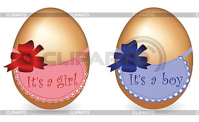 Два яйца - мальчик и девочка | Иллюстрация большого размера |ID 3018631